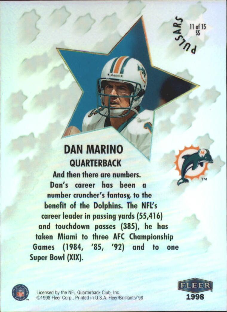 1998 Fleer Brilliants Shining Stars Pulsars #11 Dan Marino back image