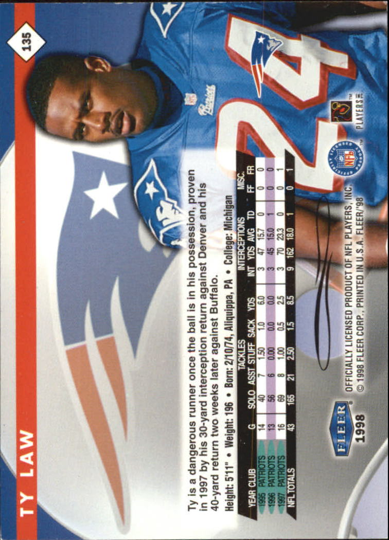 1998 Fleer Tradition #135 Ty Law back image