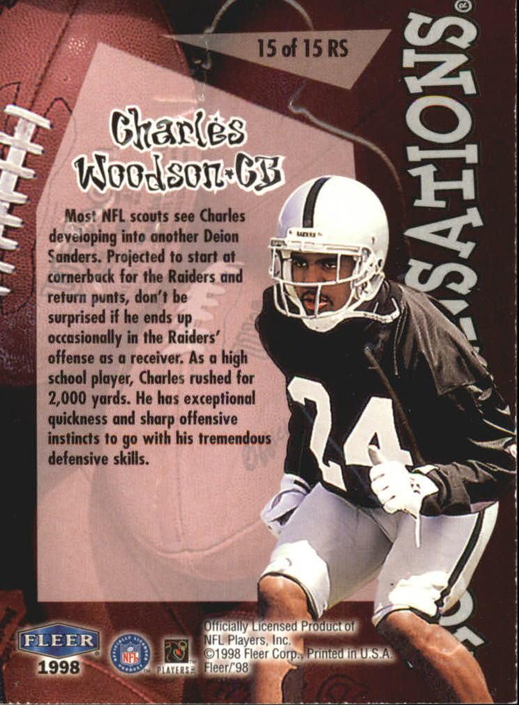 1998 Fleer Tradition Rookie Sensations #15RS Charles Woodson back image