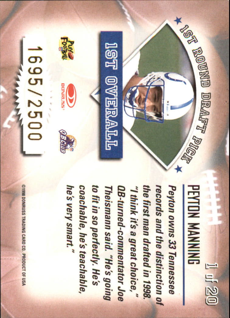 1998 Leaf Rookies and Stars Freshman Orientation #1 Peyton Manning back image