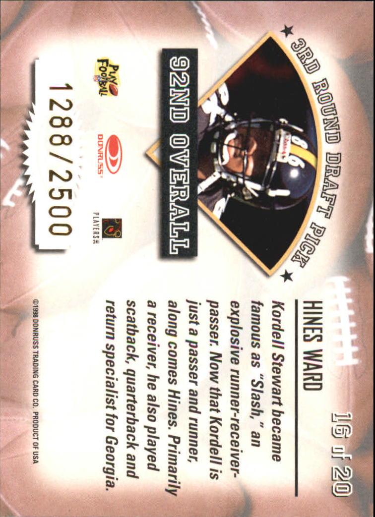 1998 Leaf Rookies and Stars Freshman Orientation #16 Hines Ward back image