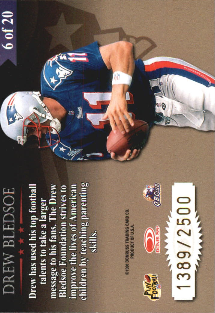 1998 Leaf Rookies and Stars Great American Heroes #6 Drew Bledsoe back image