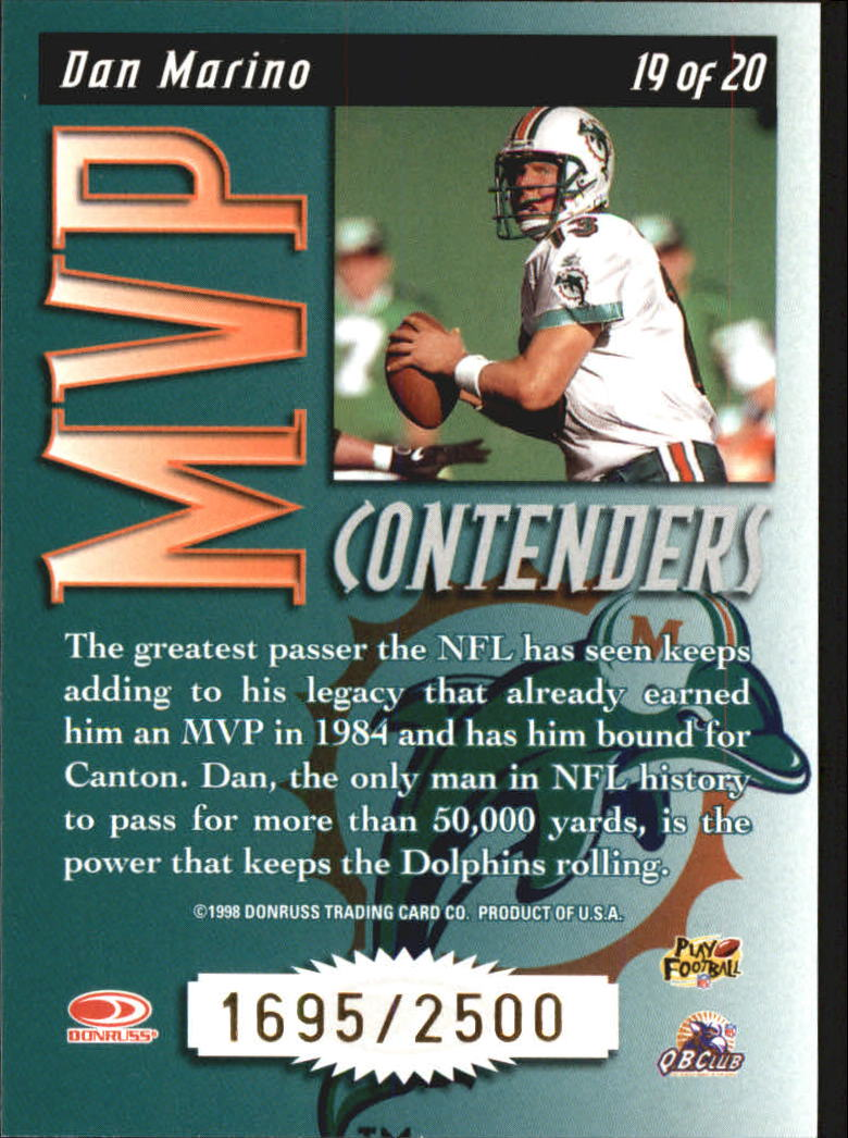 1998 Leaf Rookies and Stars MVP Contenders #19 Dan Marino back image