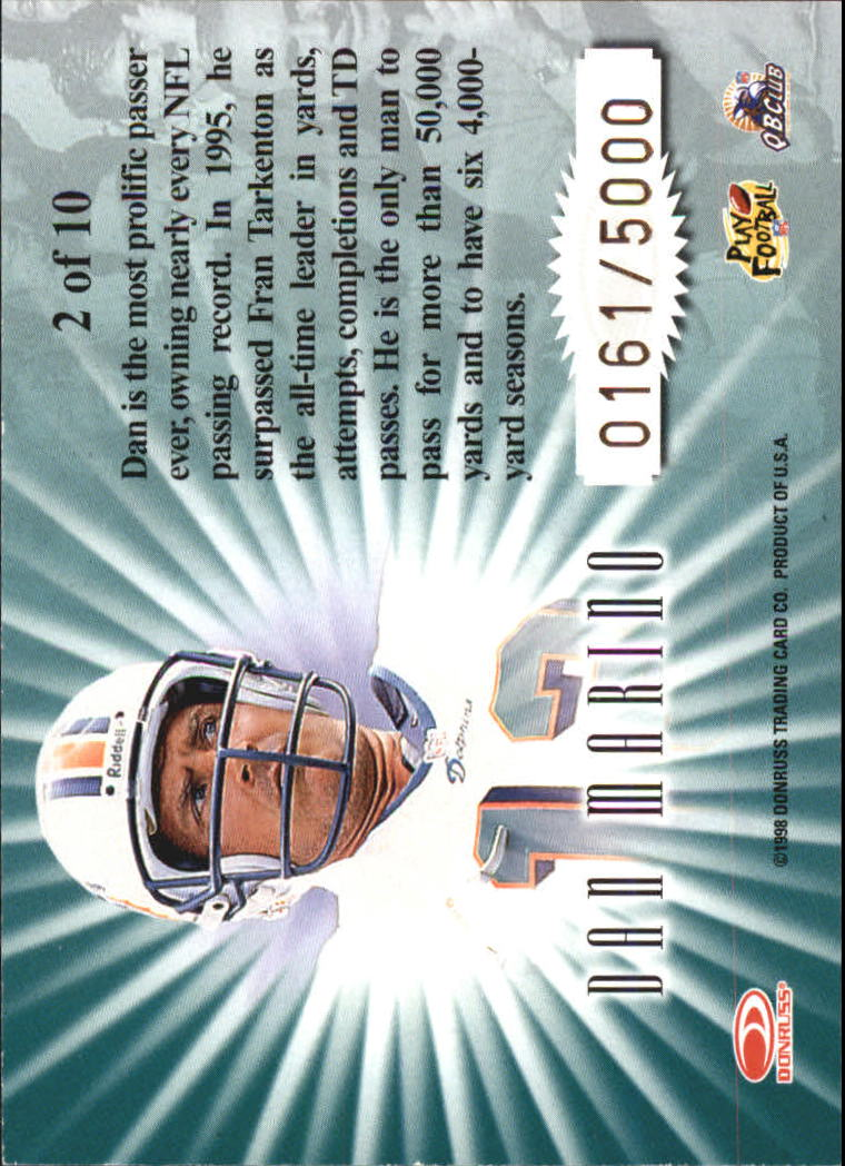 1998 Leaf Rookies and Stars Standing Ovation #2 Dan Marino back image