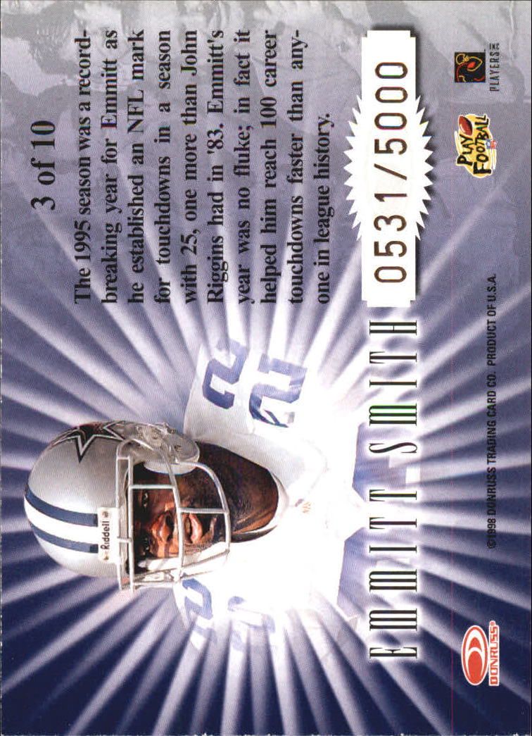 1998 Leaf Rookies and Stars Standing Ovation #3 Emmitt Smith back image