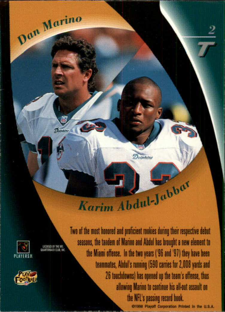 1998 Playoff Contenders Touchdown Tandems #2 D.Marino/K.Abdul-Jabbar back image