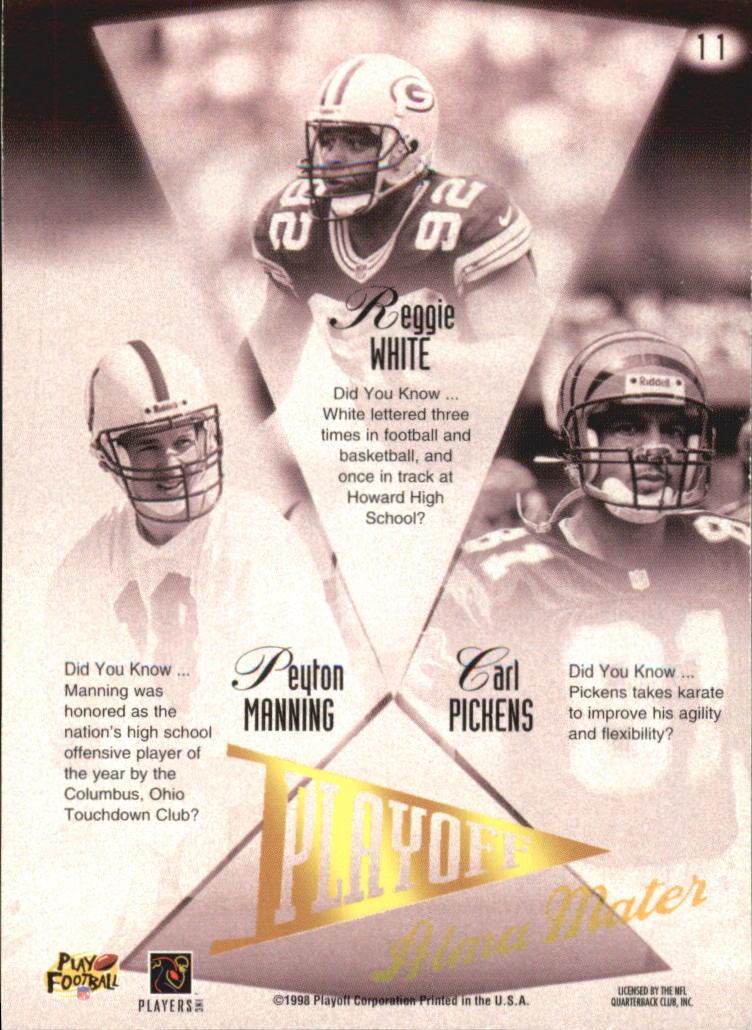 1998 Playoff Prestige Alma Maters #11 Peyton Manning/Carl Pickens/Reggie White back image