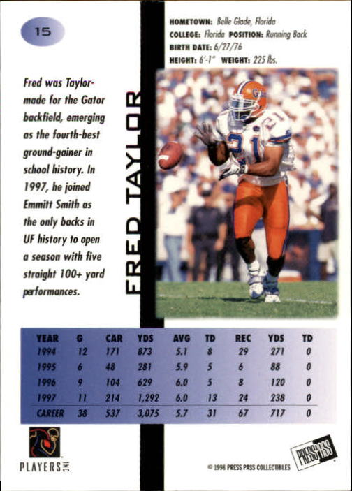 1998 Press Pass #15 Fred Taylor back image