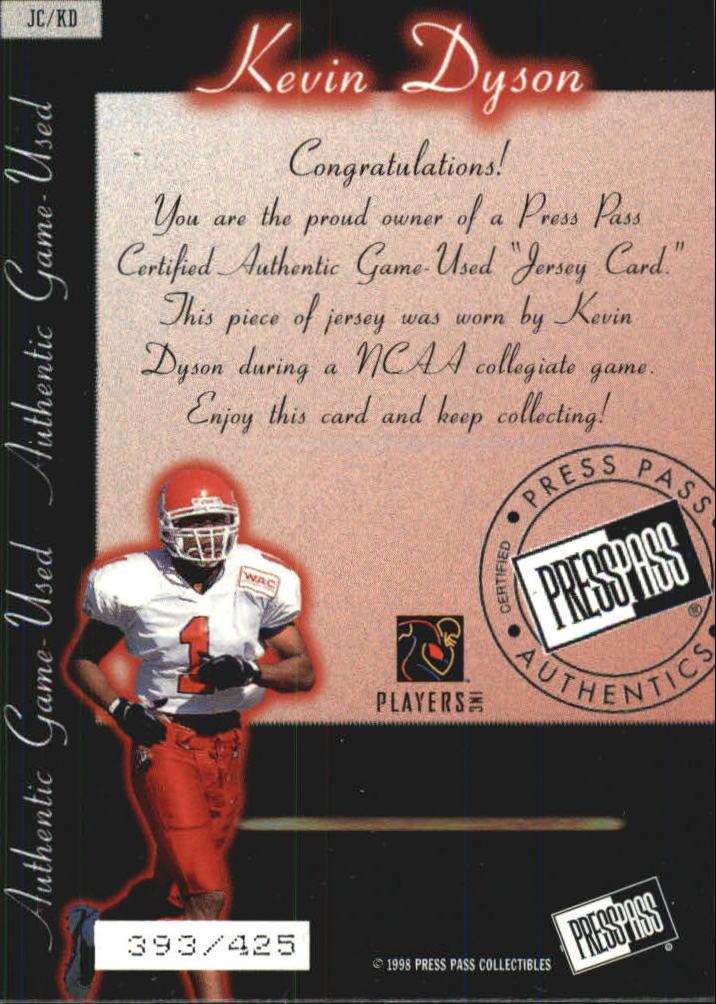 1998 Press Pass Game Jerseys #JC3 Kevin Dyson back image