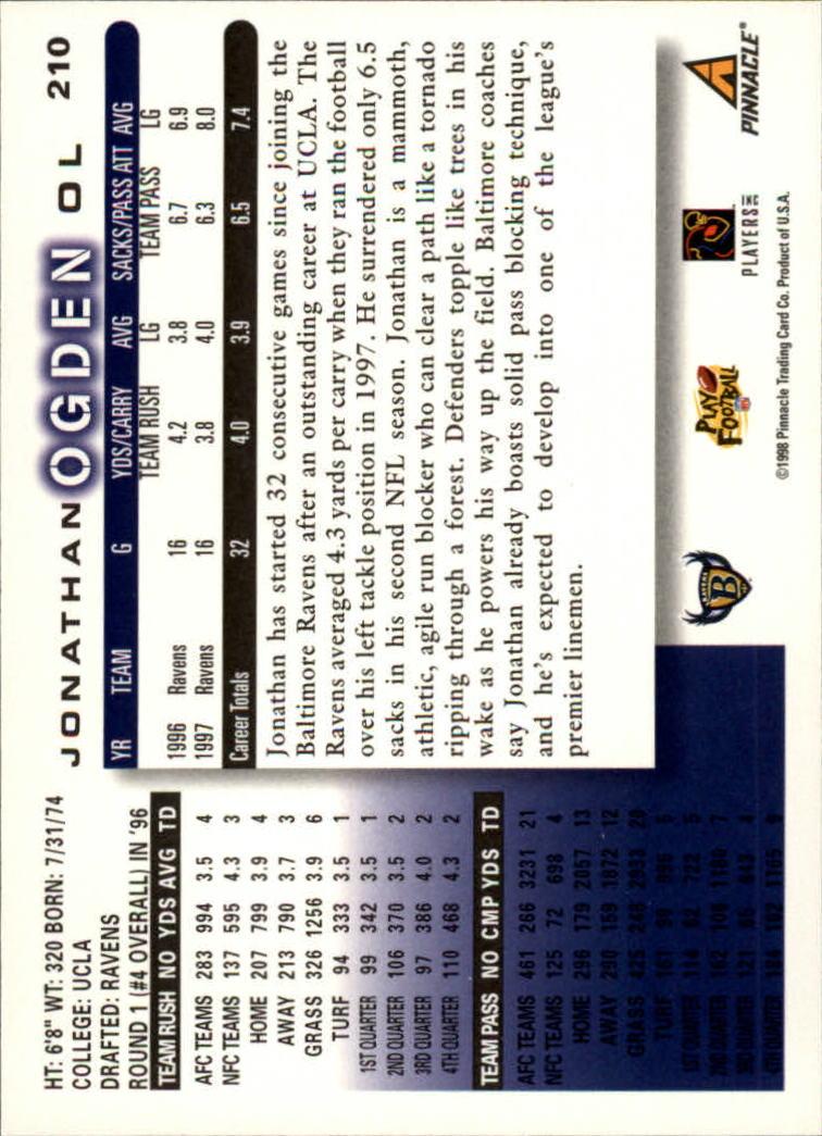 1998 Score #210 Jonathan Ogden back image