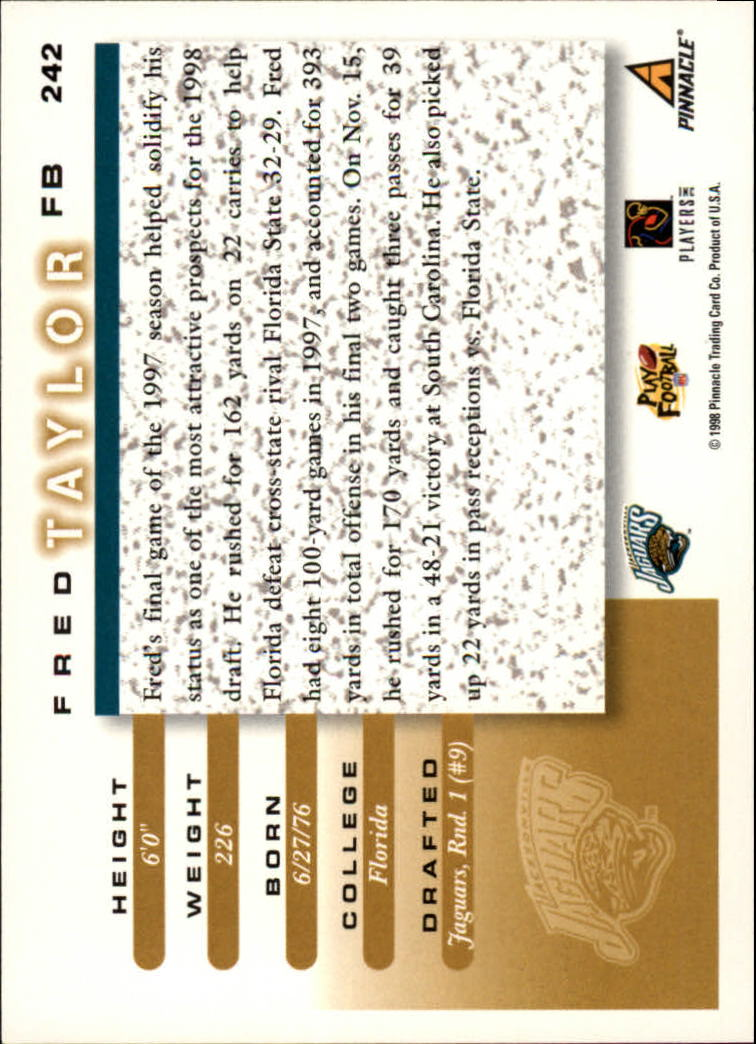 1998 Score #242 Fred Taylor RC back image