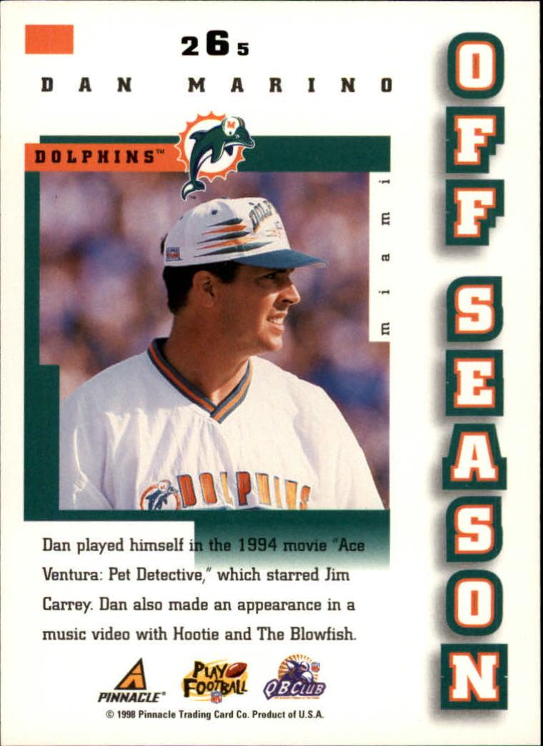 1998 Score #265 Dan Marino OS back image