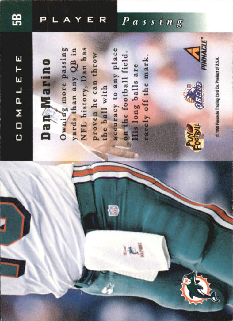 1998 Score Complete Players #5B Dan Marino back image