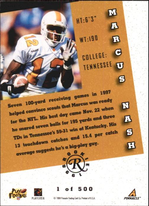 1998 Score Rookie Autographs #26 Marcus Nash back image