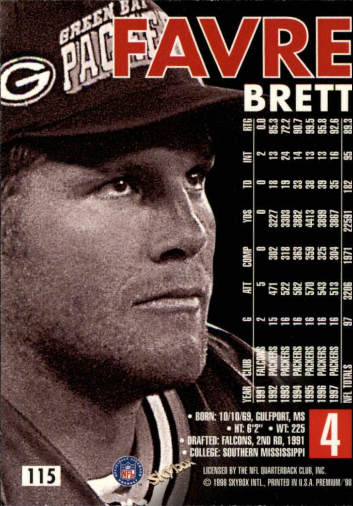 1998 SkyBox Premium #115 Brett Favre back image