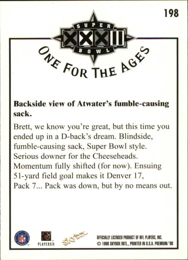 1998 SkyBox Premium #198 Brett Favre/Atwater OFA back image