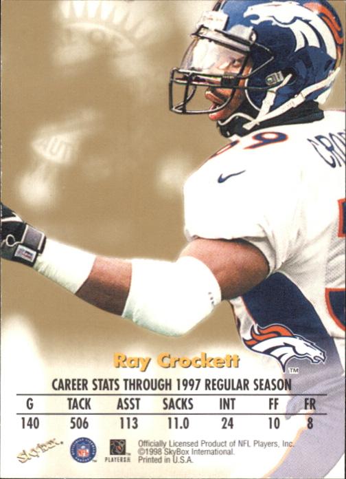 1998 SkyBox Premium Autographics #14 Ray Crockett S/ST* back image