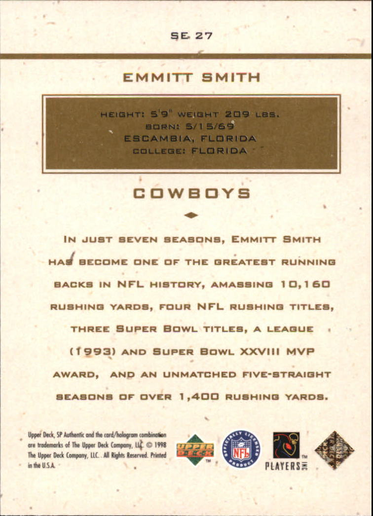 1998 SP Authentic Maximum Impact #SE27 Emmitt Smith back image