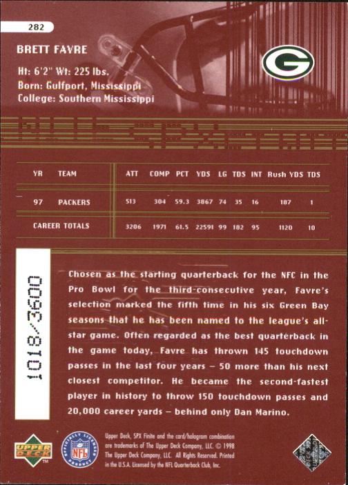 1998 SPx Finite Radiance #282 Brett Favre ET back image
