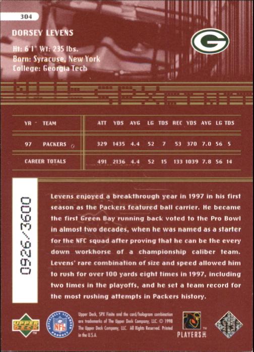 1998 SPx Finite Radiance #304 Dorsey Levens ET back image