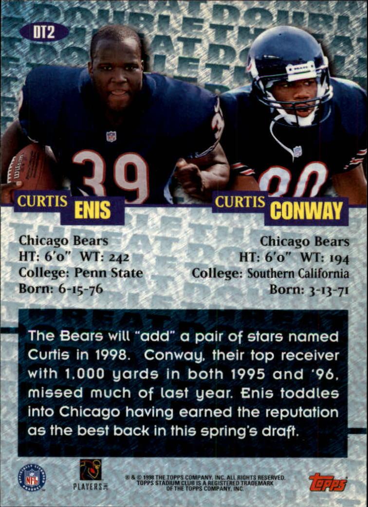 1998 Stadium Club Double Threat #DT2 C.Conway/C.Enis back image