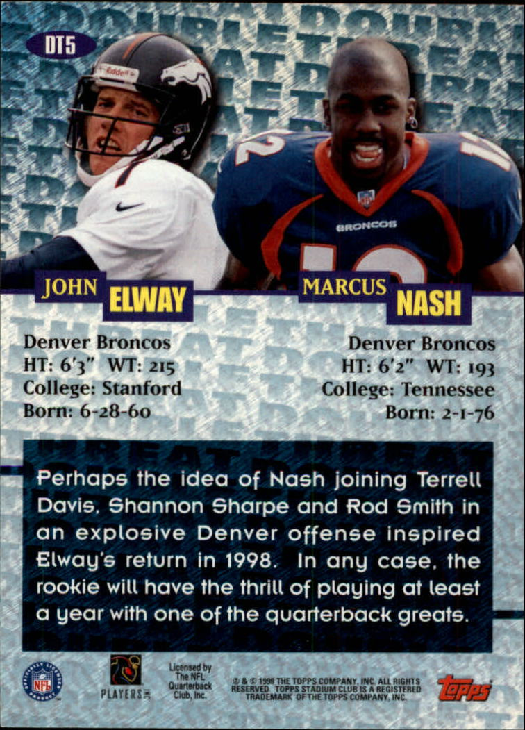 1998 Stadium Club Double Threat #DT5 J.Elway/M.Nash back image