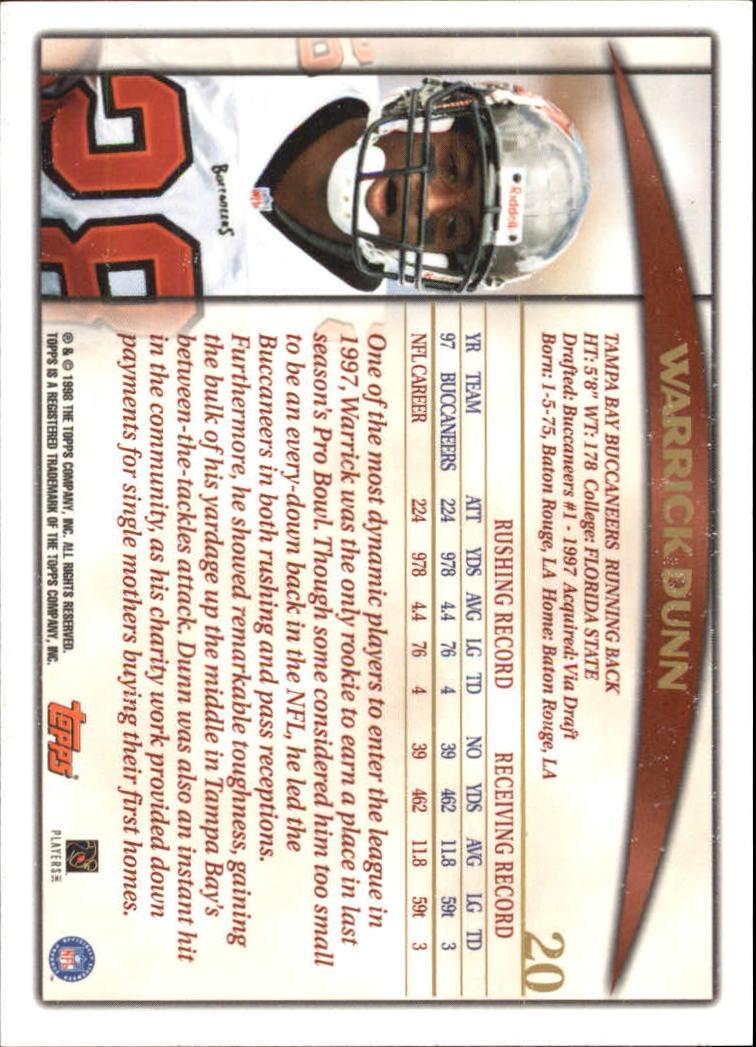 1998 Topps #20 Warrick Dunn back image