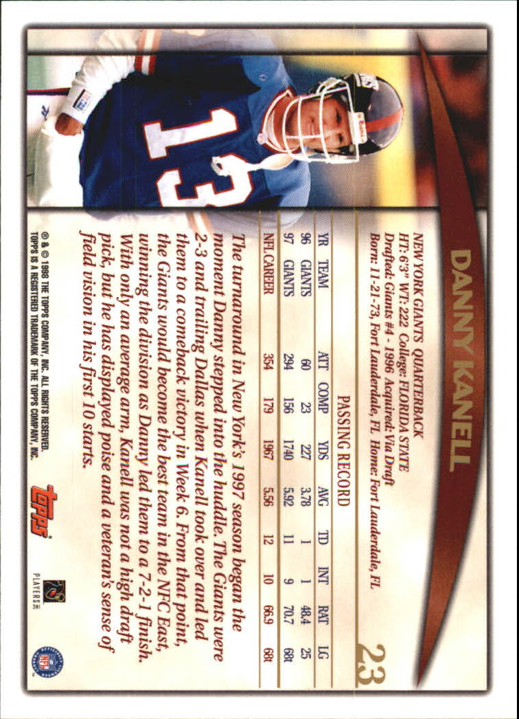 1998 Topps #23 Danny Kanell back image