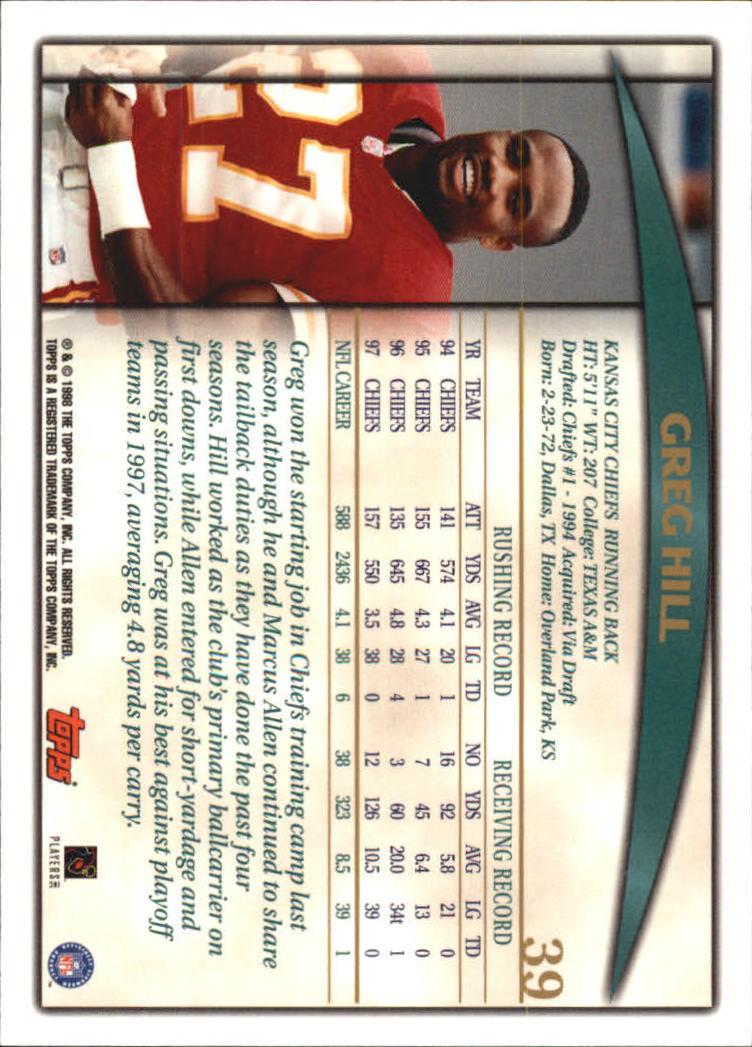 1998 Topps #39 Greg Hill back image