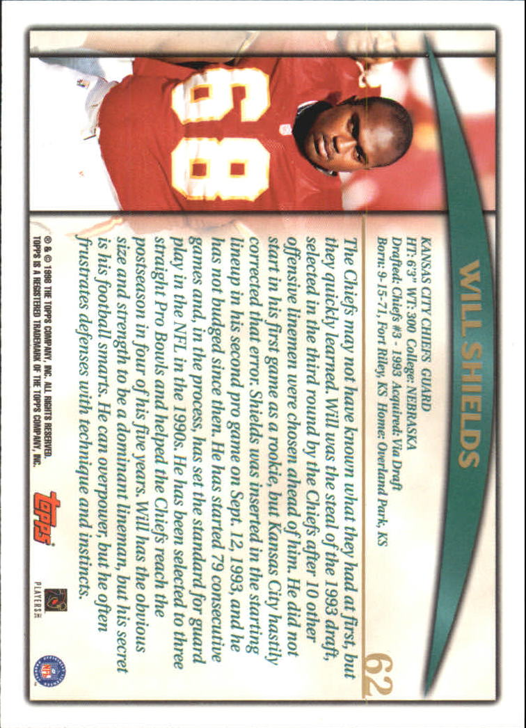 1998 Topps #62 Will Shields back image