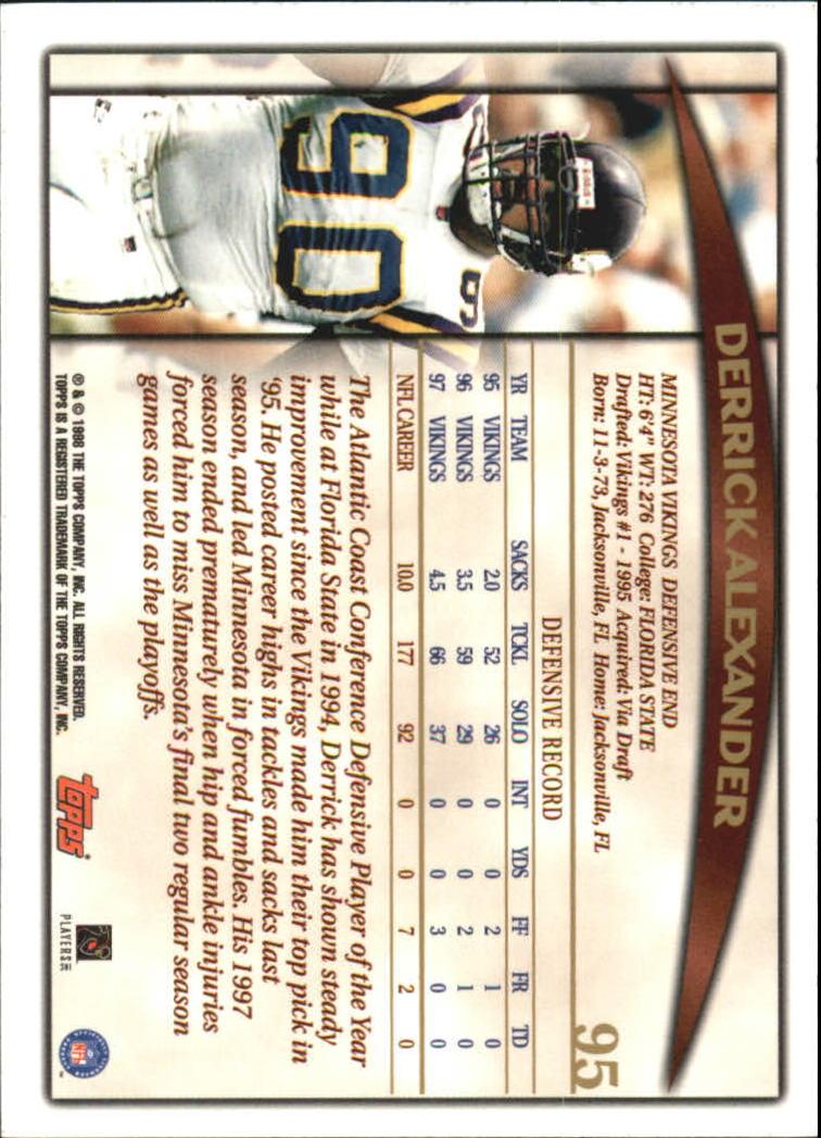 1998 Topps #95 Derrick Alexander DE back image