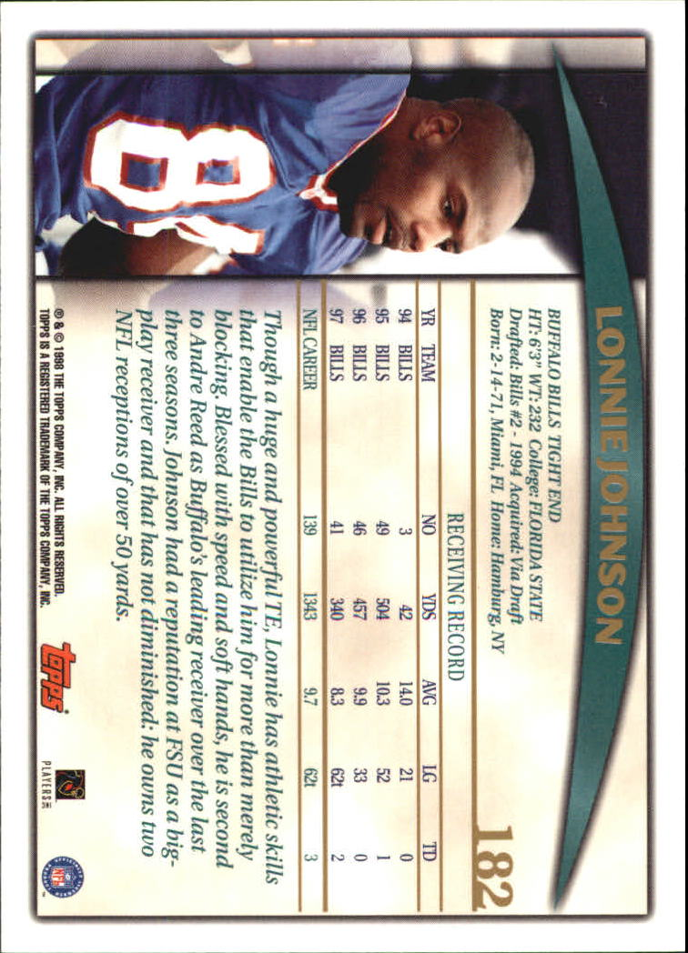 1998 Topps #182 Lonnie Johnson back image