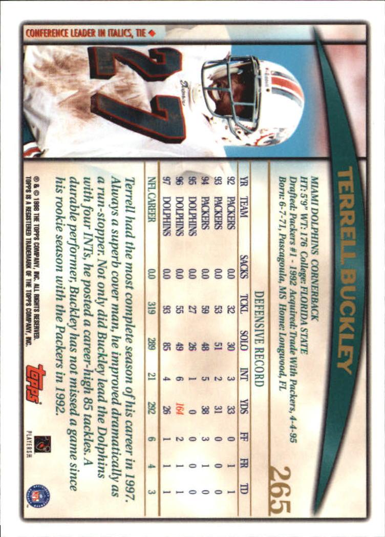 1998 Topps #265 Terrell Buckley back image