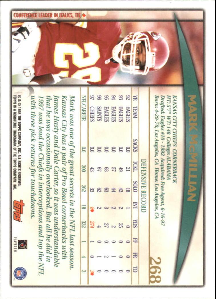 1998 Topps #268 Mark McMillian back image