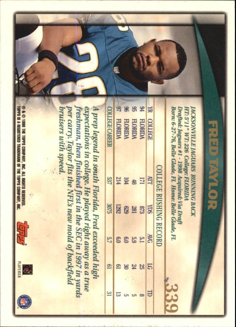 1998 Topps #339 Fred Taylor RC back image