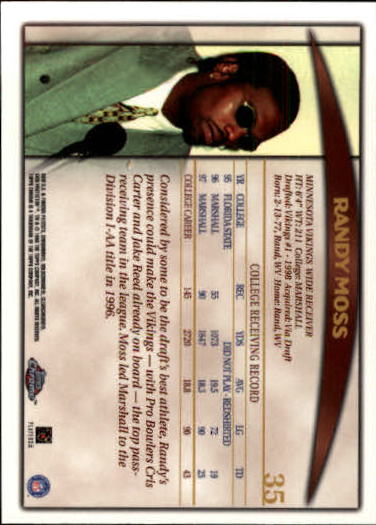 1998 Topps Chrome #35 Randy Moss RC back image