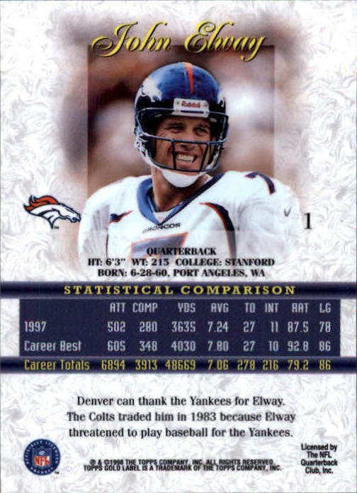 1998 Topps Gold Label Class 1 #1 John Elway back image