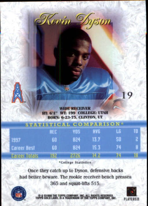 1998 Topps Gold Label Class 1 #19 Kevin Dyson RC back image