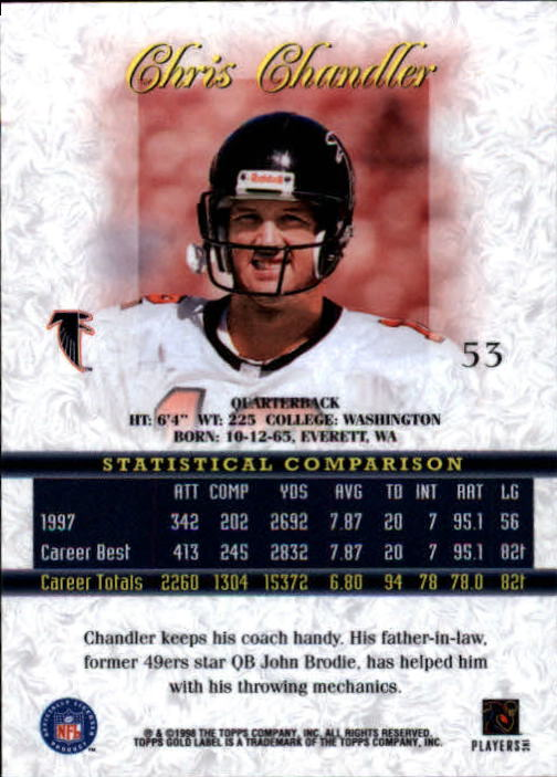 1998 Topps Gold Label Class 1 #53 Chris Chandler back image