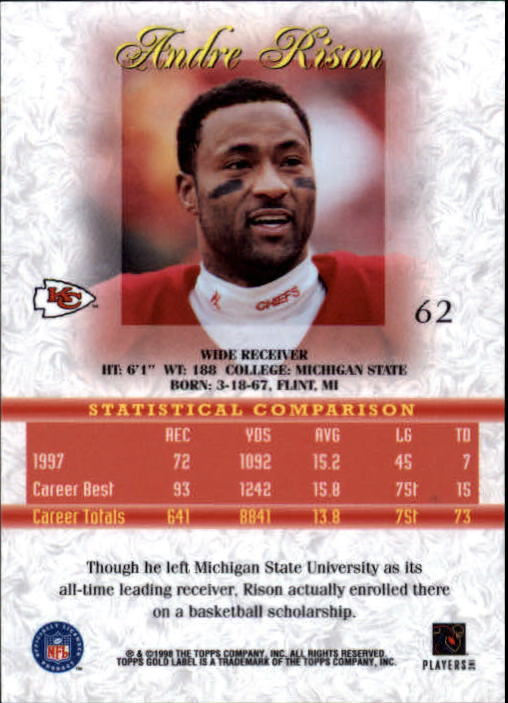 1998 Topps Gold Label Class 1 #62 Andre Rison back image