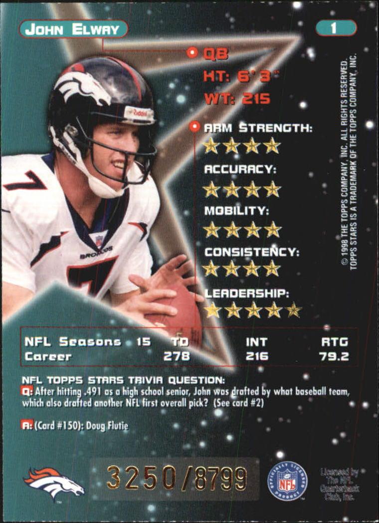 1998 Topps Stars #1 John Elway back image