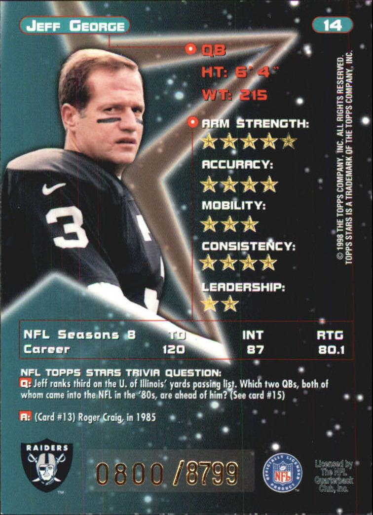 1998 Topps Stars #14 Jeff George back image