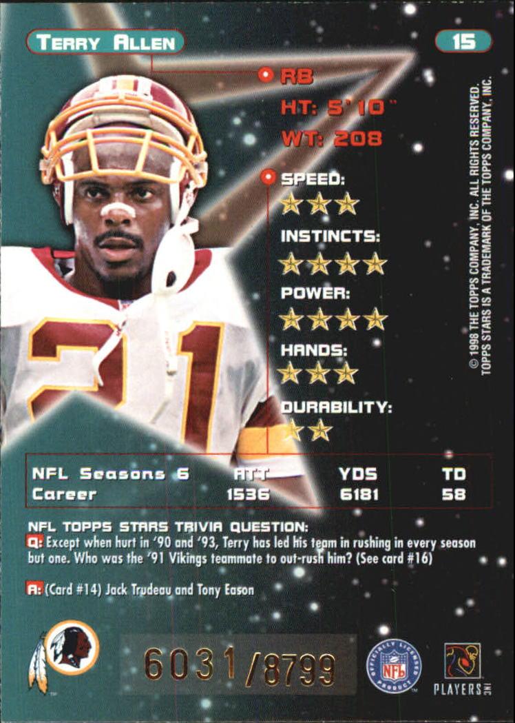 1998 Topps Stars #15 Terry Allen back image
