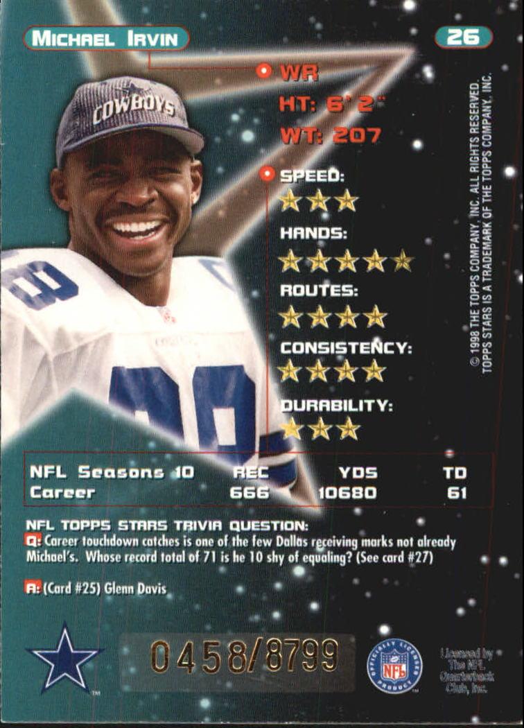 1998 Topps Stars #26 Michael Irvin back image