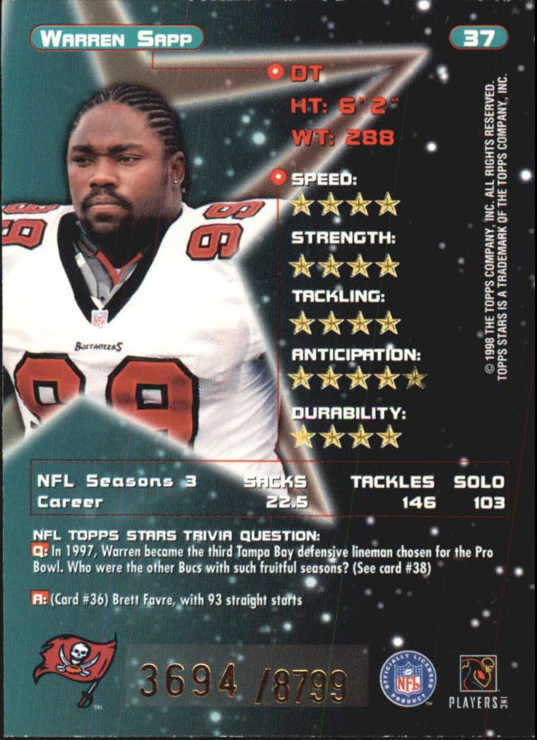 1998 Topps Stars #37 Warren Sapp back image