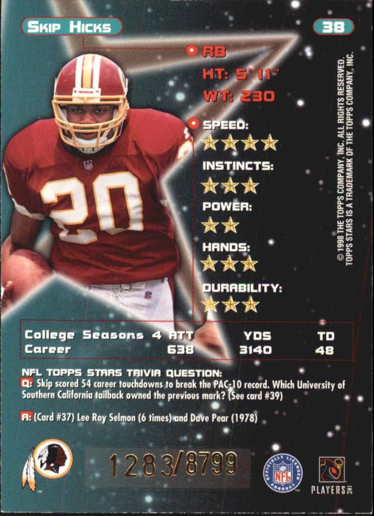 1998 Topps Stars #38 Skip Hicks RC back image