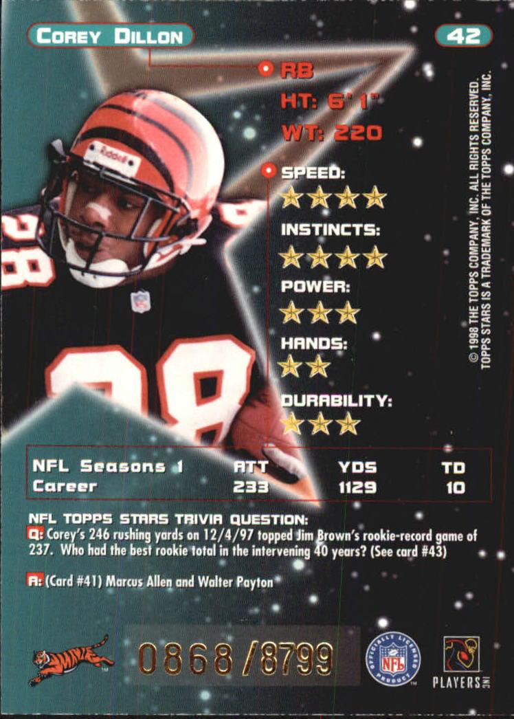 1998 Topps Stars #42 Corey Dillon back image