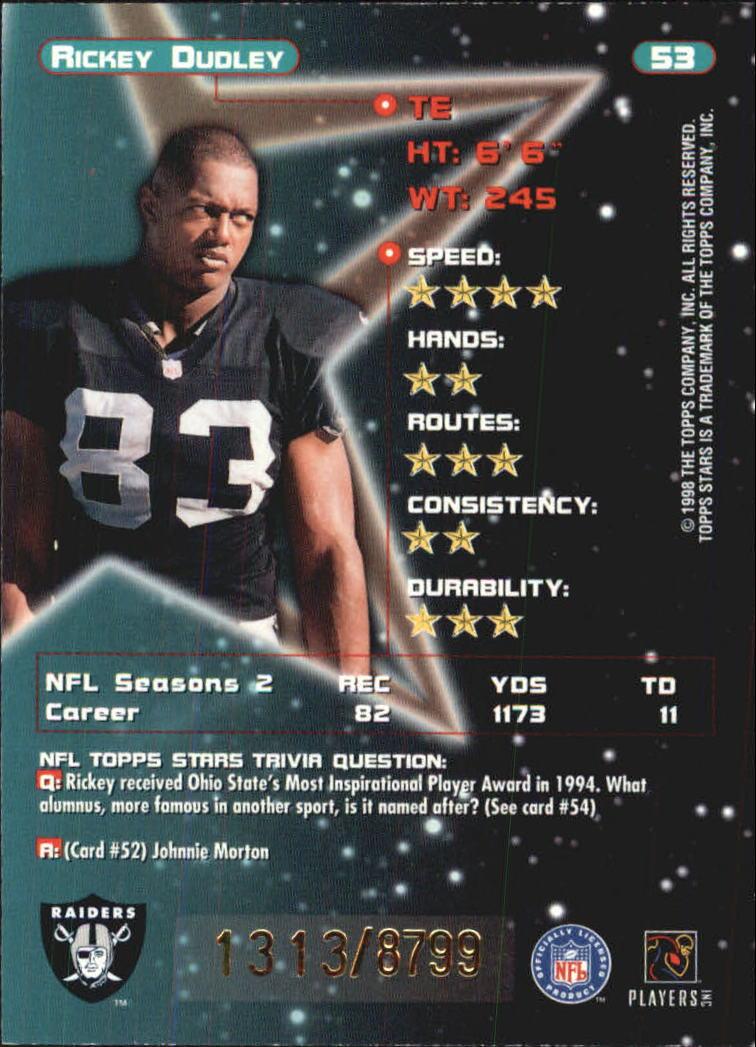 1998 Topps Stars #53 Rickey Dudley back image