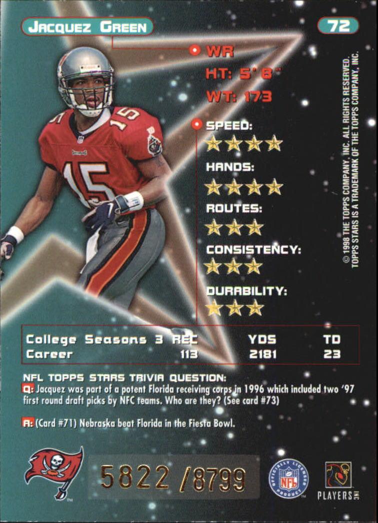 1998 Topps Stars #72 Jacquez Green RC back image