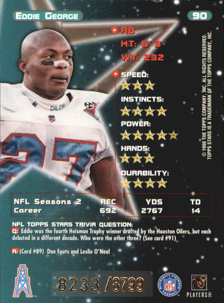 1998 Topps Stars #90 Eddie George back image